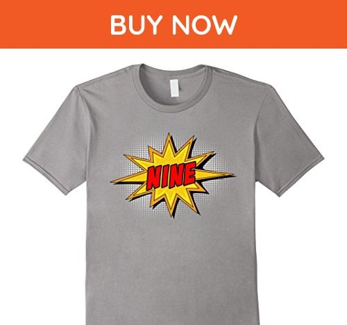 Mens Kids 9th Birthday Comic Superhero T Shirt For 9 Yr Old Boys Small Slate