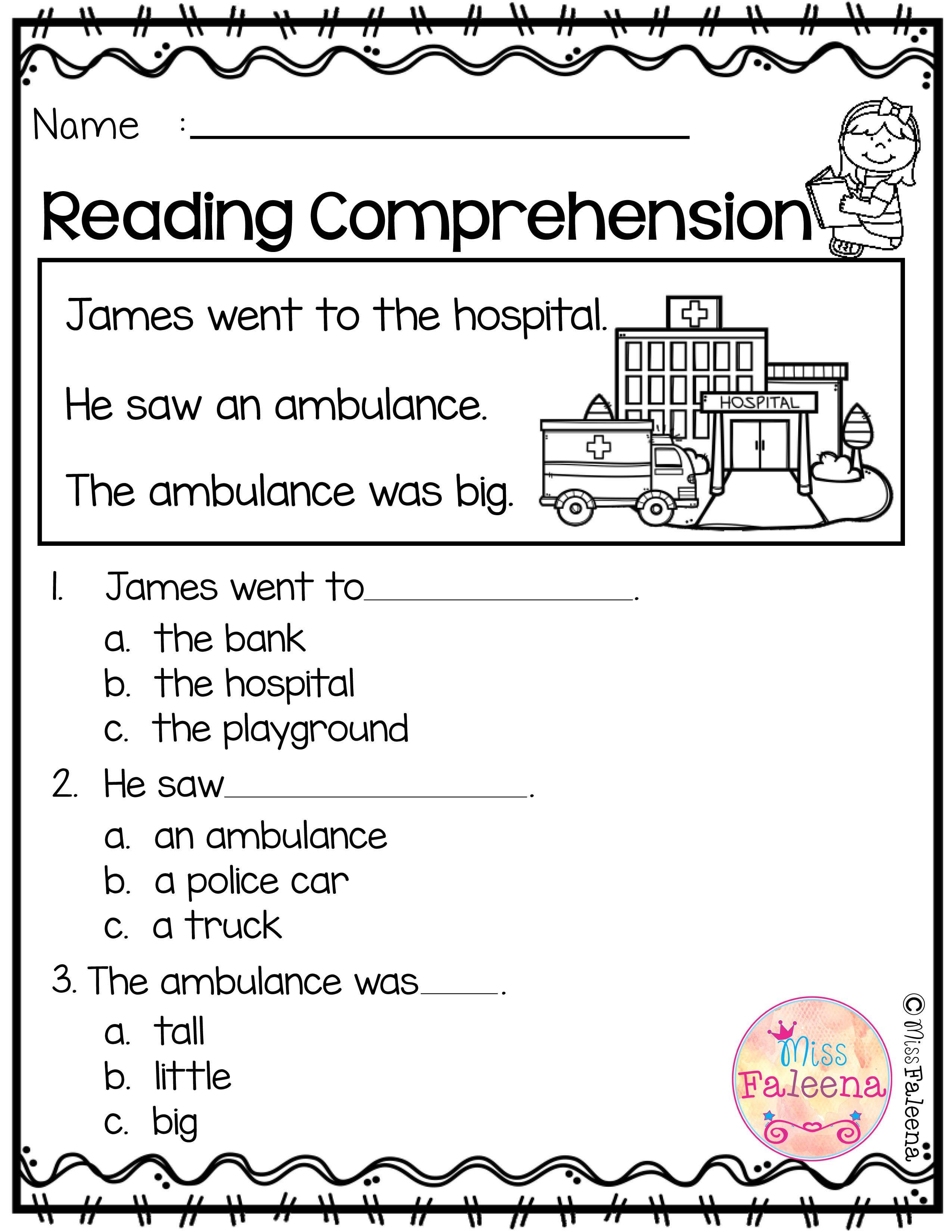 worksheet Reading Comprehension Worksheets Kindergarten free reading comprehension is suitable for kindergarten students or beginning readers there are 15 color
