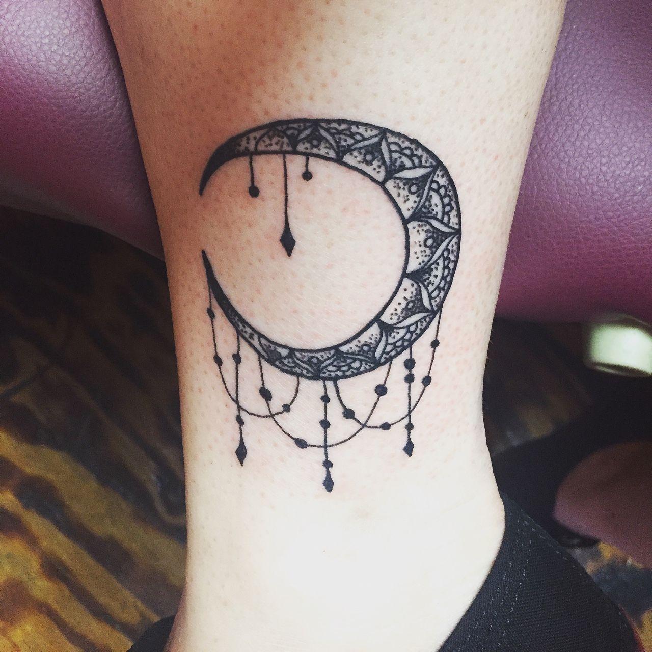 crescent mandala moon done at drop dead in