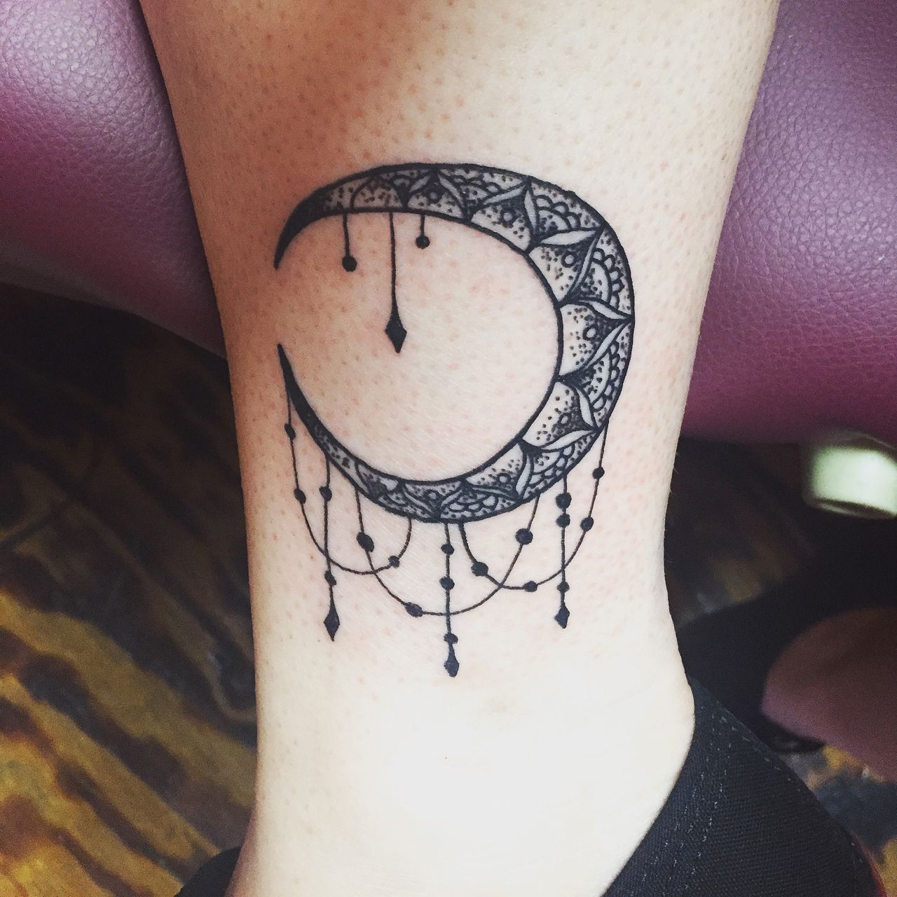 Crescent Mandala Moon done at Drop Dead Tattoo in North