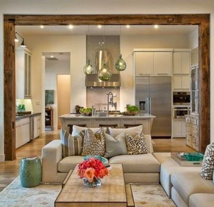 Masterful Open Concept Design Done In Muted Tones With Pops Of Pleasing Open Concept Living Room Dining Room And Kitchen Design Decoration