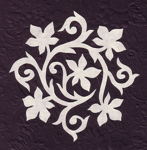 Vine flower stenciling and squares for Easy paper cutting flowers