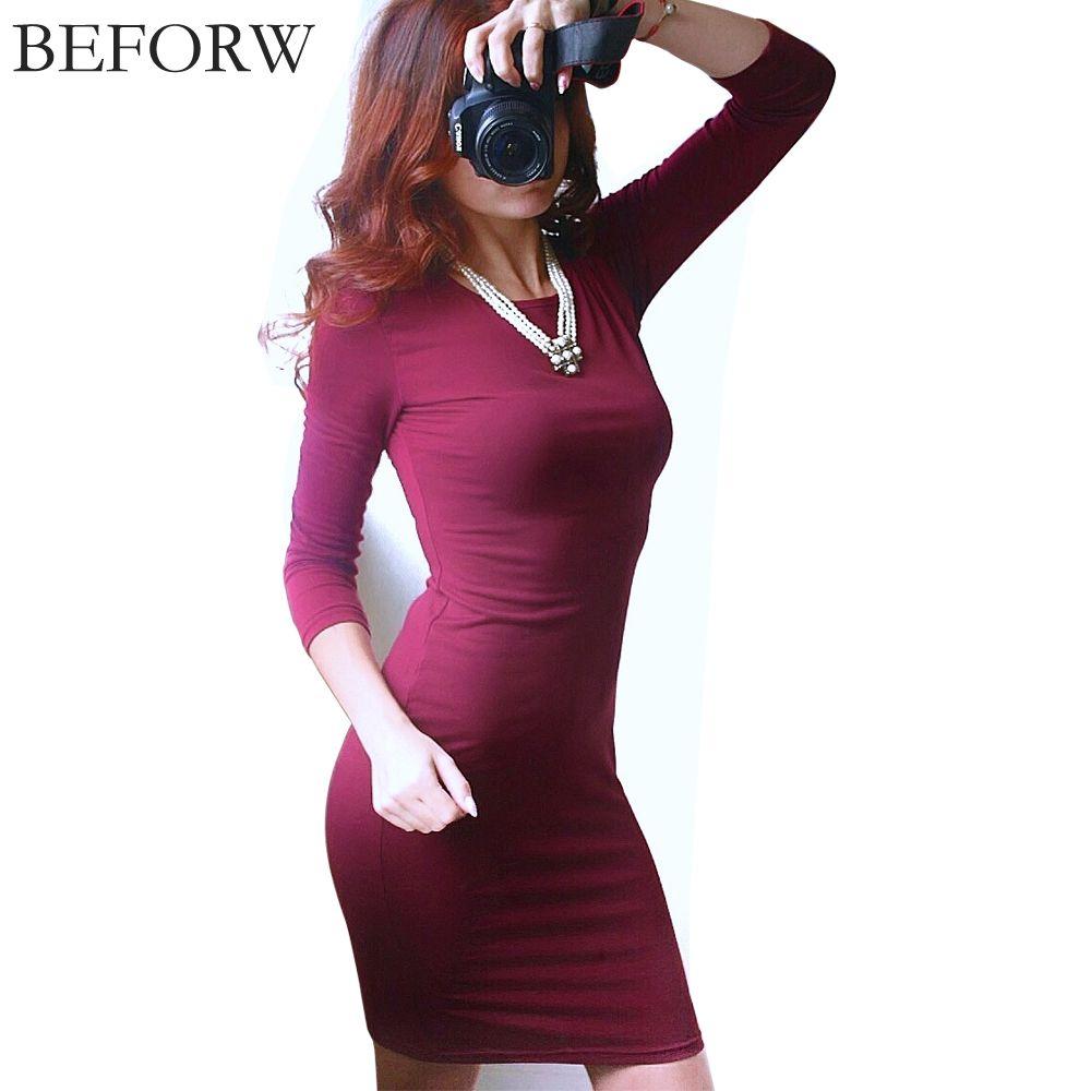 Beforw winter autumn dress plus size cotton long sleeve knee length