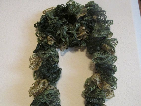Multicolor Green Crochet Scarf Sashay by DonnaHandmadeJewelry ...