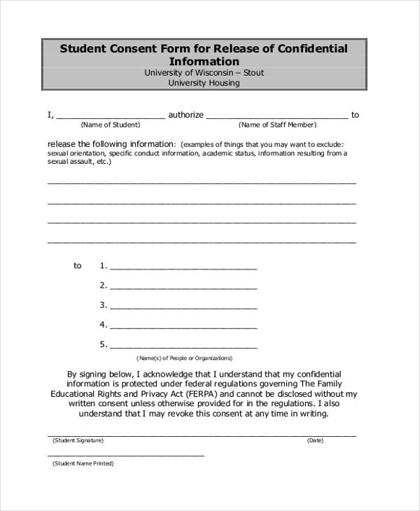 Image Result For Release Of Information Consent Form Consent