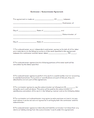 Contractor subcontractor agreement business forms Find subcontractors