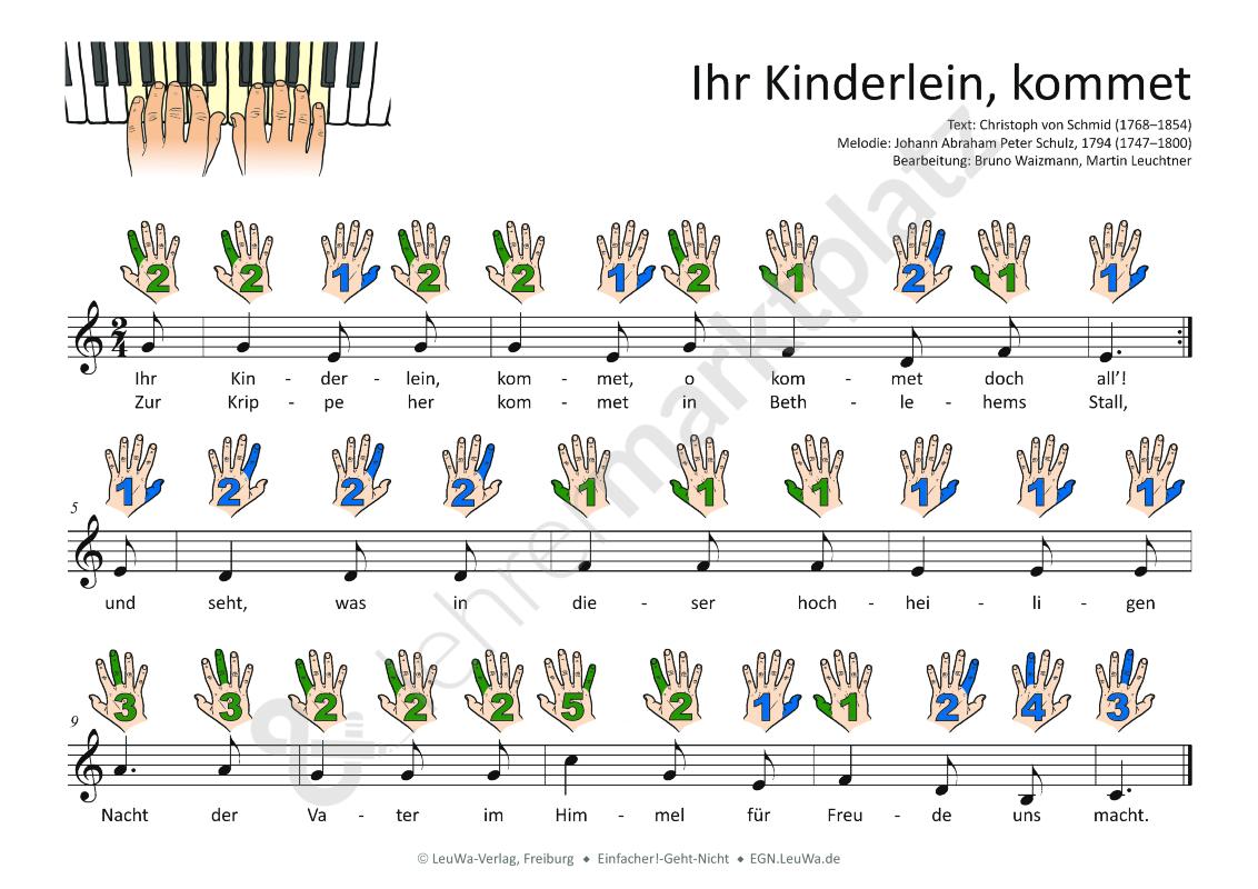 Keyboard Weihnachtslieder Anfänger.Ihr Kinderlein Kommet Noten Für Klavier Keyboard