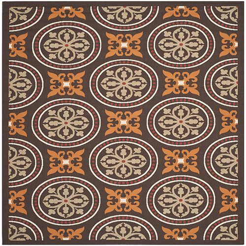 Indoor Outdoor Chocolate And Terracotta Rectangular 8 Ft X 11 Ft 2 In Rug Indoor Outdoor Area Rugs Indoor Outdoor Rugs Floral Area Rugs