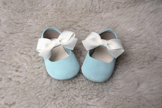 ad497ac3473af Light Blue Baby Girl Shoes with White Bow, Leather Baby Moccasins ...
