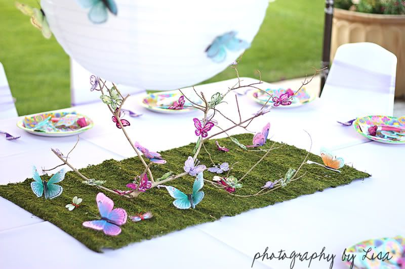 Butterfly birthday party decor ideas via for Butterfly mural ideas