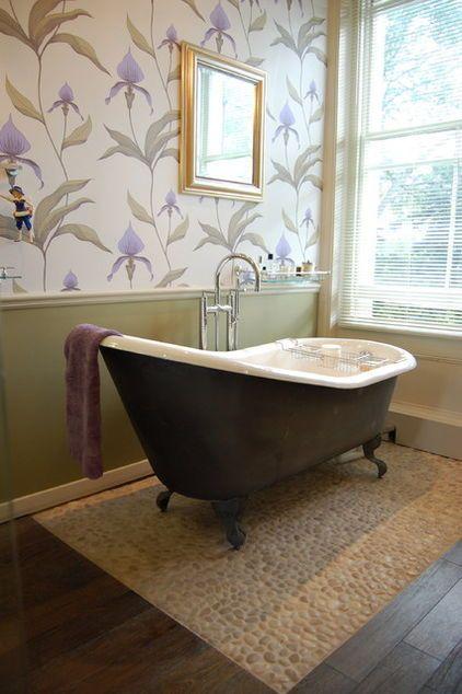Multiple floors- Tile around tub with wood in bathroom ...