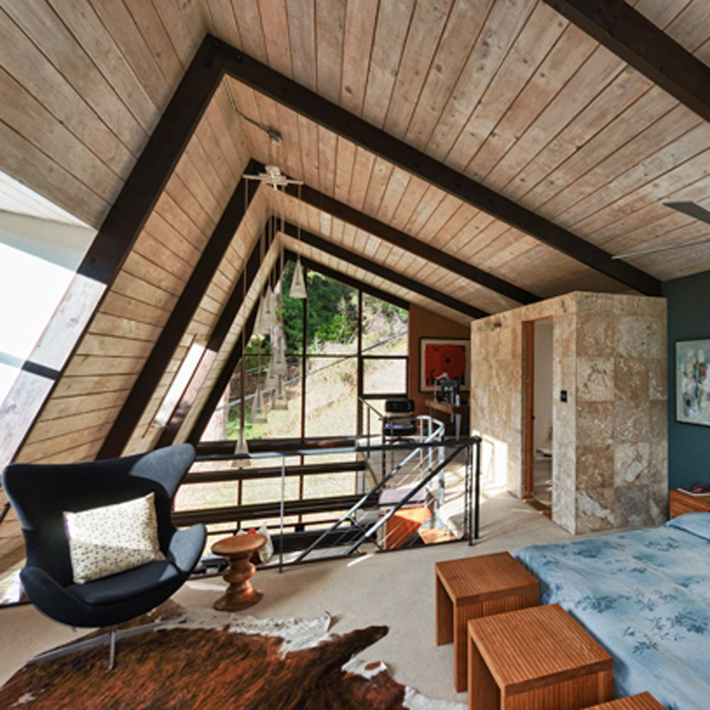 Loft Style Bedroom With Dormer In A Mid Century Modern