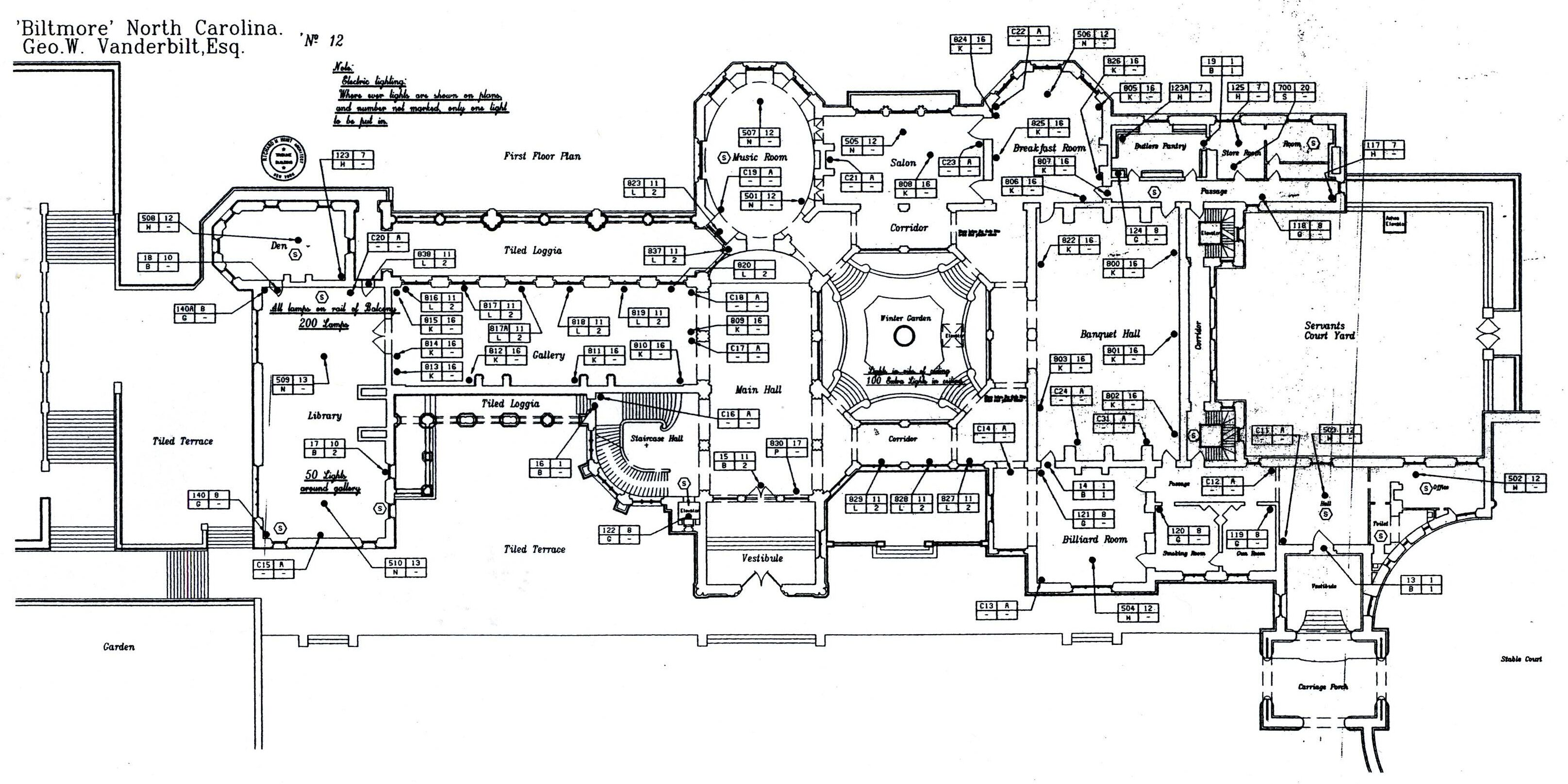 Biltmore house 1st floor blueprint biltmore estate for Estate home plans designs