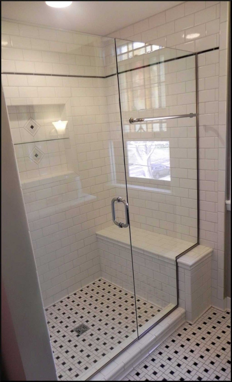 Small Bathroom Window Design With Black And White Floor Tile Ideas Plus Cosy Shower Bench Also