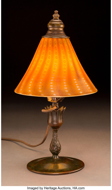 Tiffany Studios Persian Favrile Glass And Bronze Desk Lamp Circa