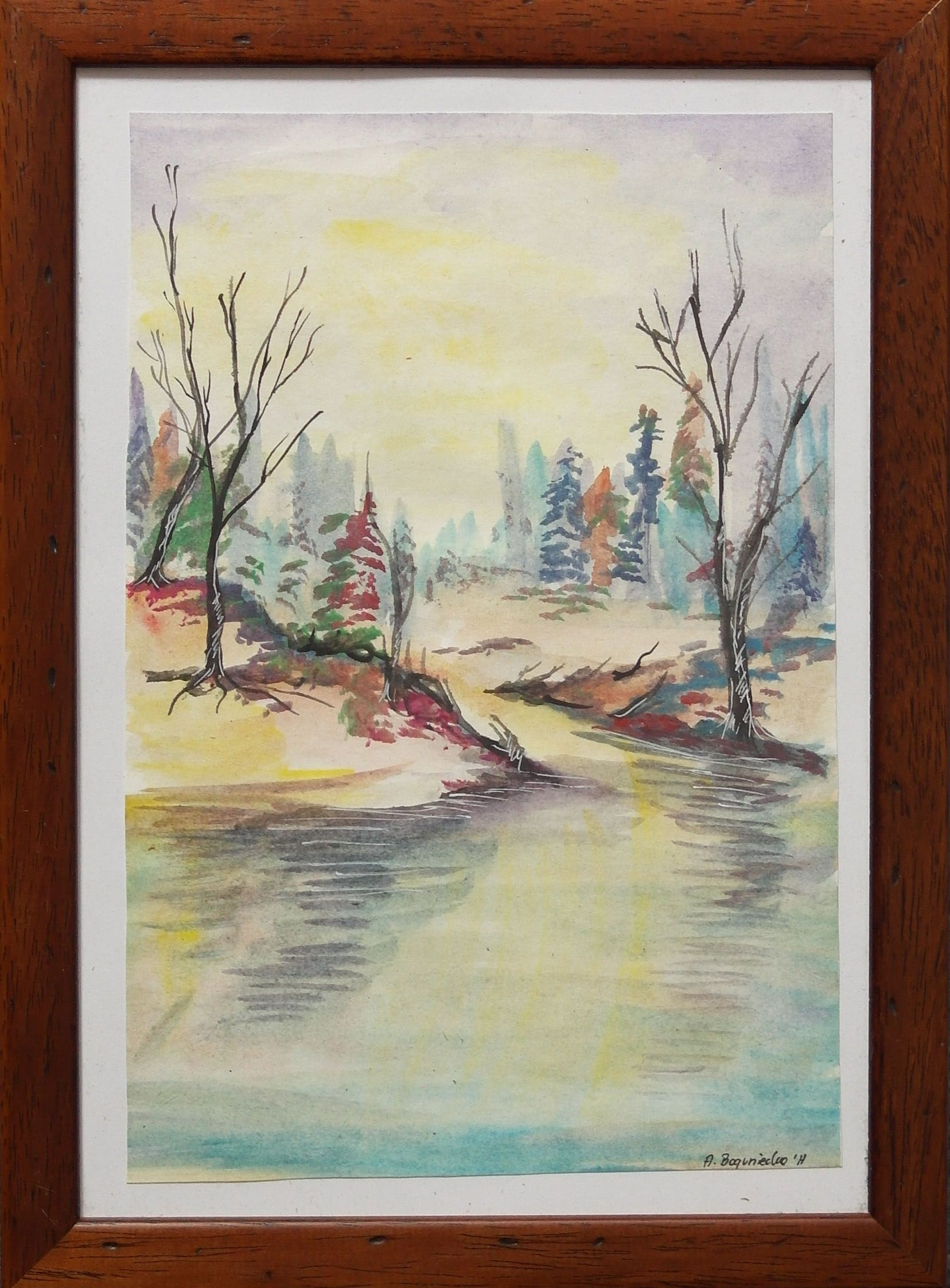Obraz Malowany Farbami Akwarelowymi Krajobraz Zimowy Art Painting