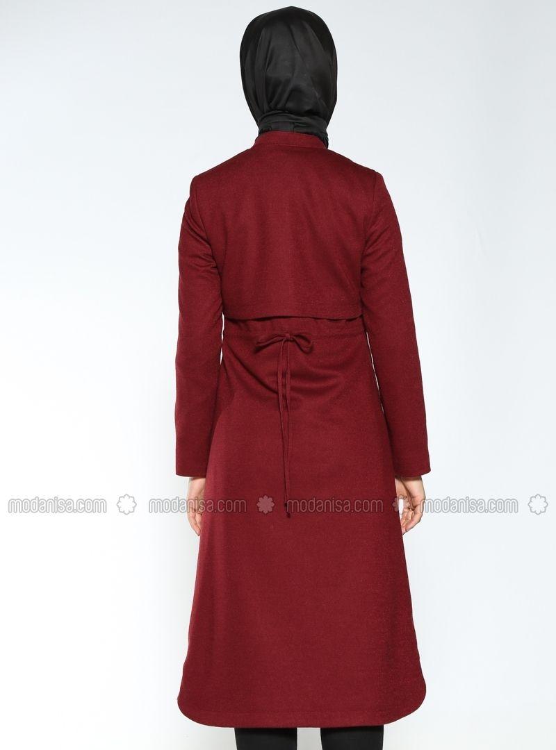 Manteaux Feutre Bordeaux Manteau Modanisa High Neck Dress Fashion Dresses
