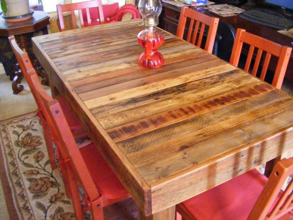 Rustic Reclaimed Wood Dining Table Or Desk 60 X 30 X 30 High Use Indoors Or Out 590 00 Via Etsy Reclaimed Wood Dining Table Dining Room Table Dining Table
