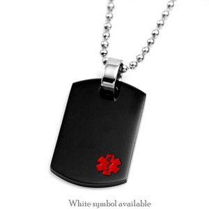 Stainless Steel Dog Tag Engraved Medical Alert Symbol Pendant Necklace for Men