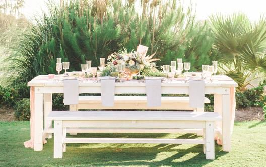 Beautiful Whitewashed Picnic Tables For Rent With Large Matching White Benches Photogr Picnic Table With Umbrella Farm Table With Bench Outdoor Furniture Sets