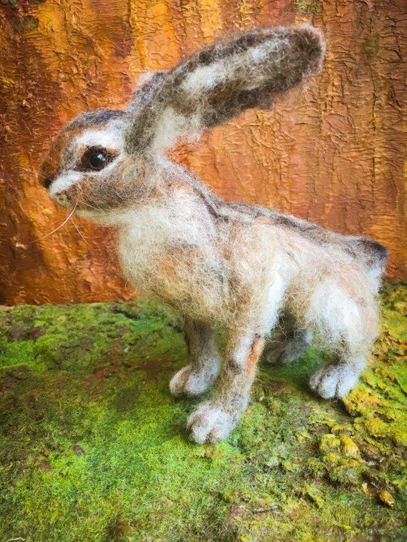 Realistic hare, needle felted easter bunny. Fiber art sculpture. #needlefeltedbunny