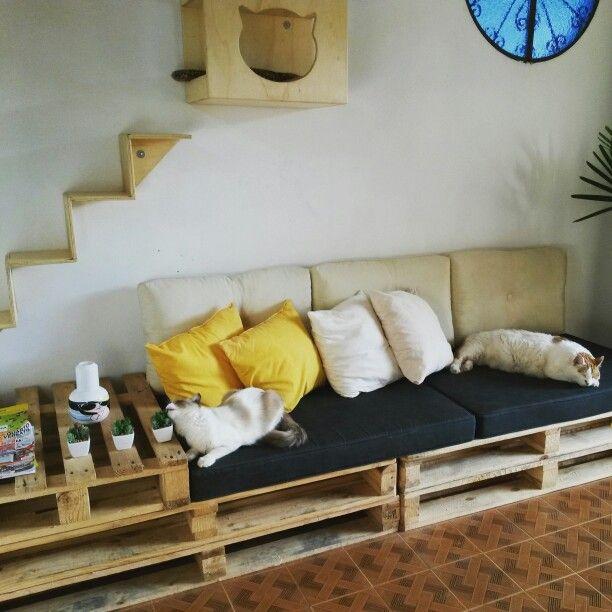 Minha sala c palets...quase pronta!!idéis tiradas do pinterest!!