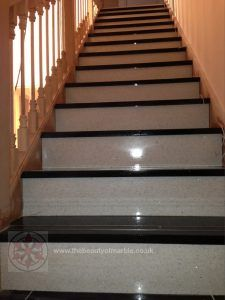 Custom Marble Stair Treads In Contrasting Colours