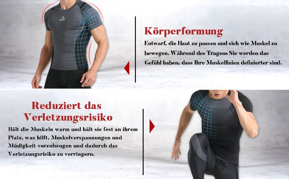 Amzsport Herren Kompressions Shirt Langarmlig Funktionsshirts