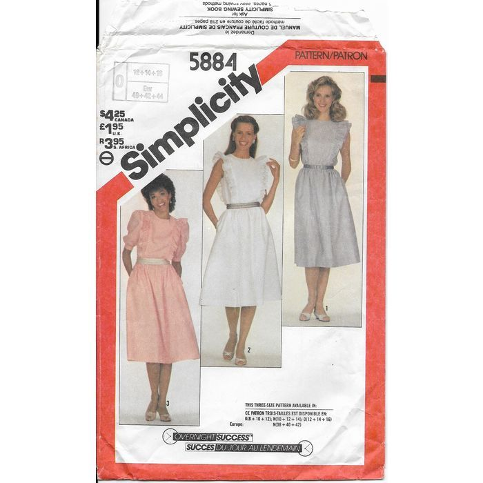 Simplicity 5884 Sewing Pattern Misses Pull Over Dress Year 1983 ...
