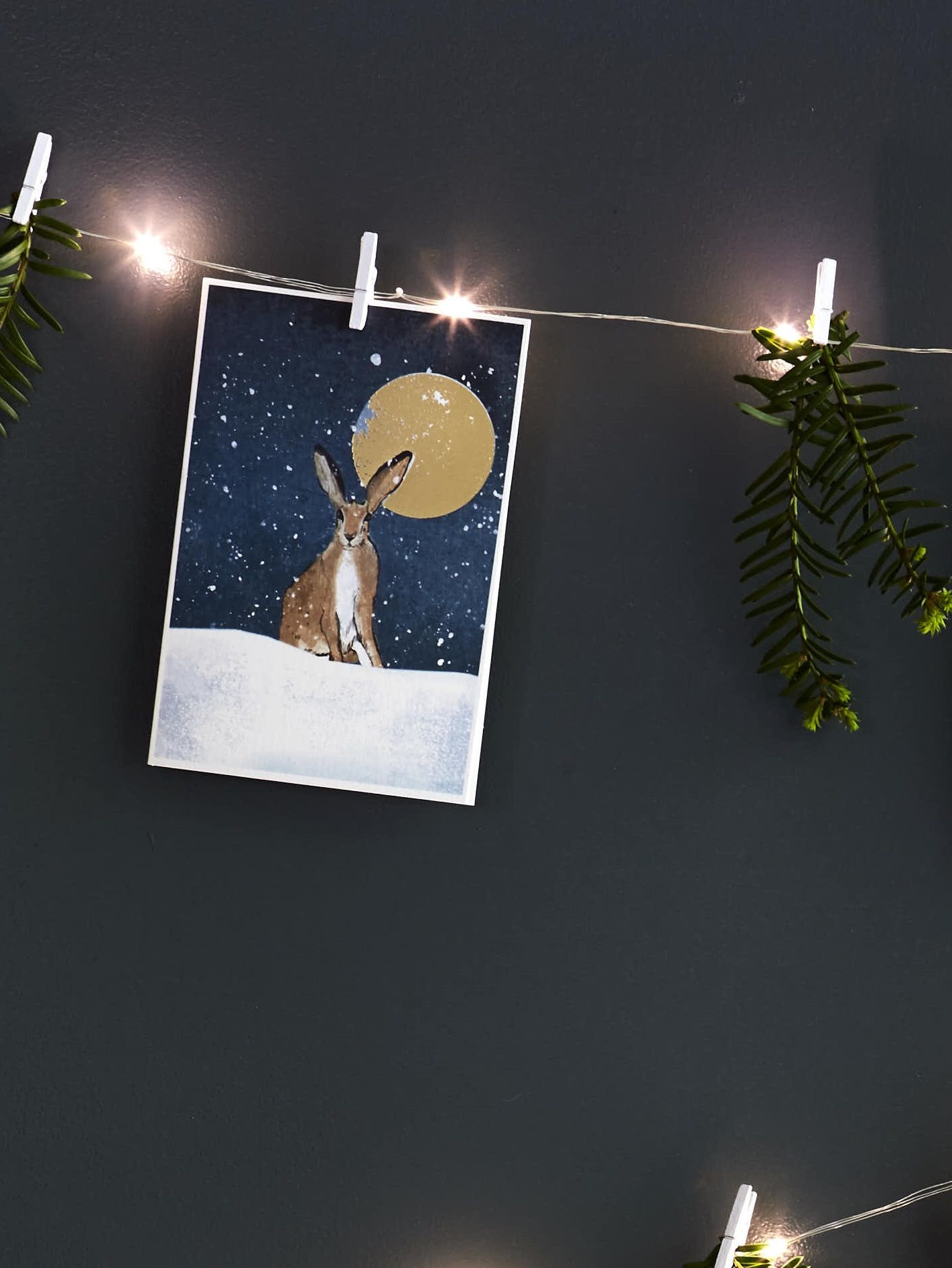 Moonlit hare Christmas card. Credits Rachel Whiting