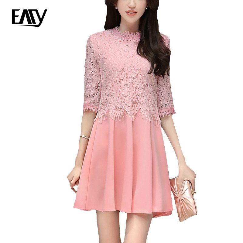 Women Pink Black Lace Autumn Elegant Bodycon Party Plus Size Spring ...