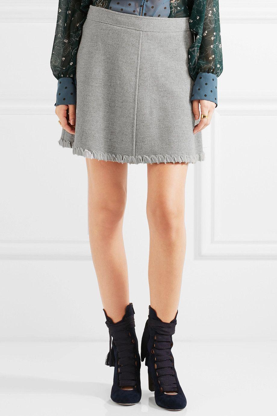 b1877755 See by Chloé   Crepe de chine-trimmed herringbone wool-blend mini skirt…