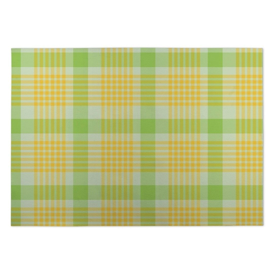 Kavka Designs Green/Yellow Floral Plaid Indoor/Outdoor