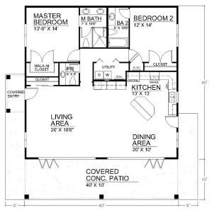 700 Sq Ft 2 Bedroom Floor Plan Open Floor House Plans By Susanna Open Floor House Plans Small House Design Bedroom Floor Plans