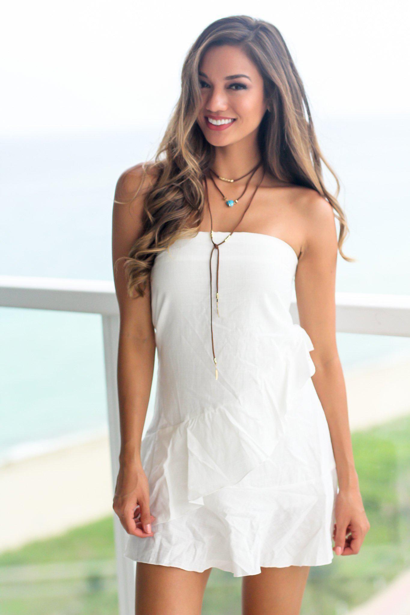 White strapless short dress with open back pinterest online
