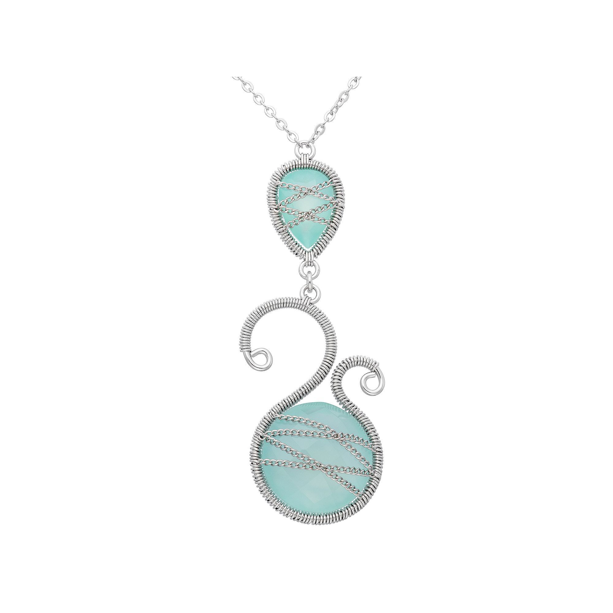 Chalcedony Sterling Silver Scrollwork and Chain-Wrapped Necklace, Women's, Green