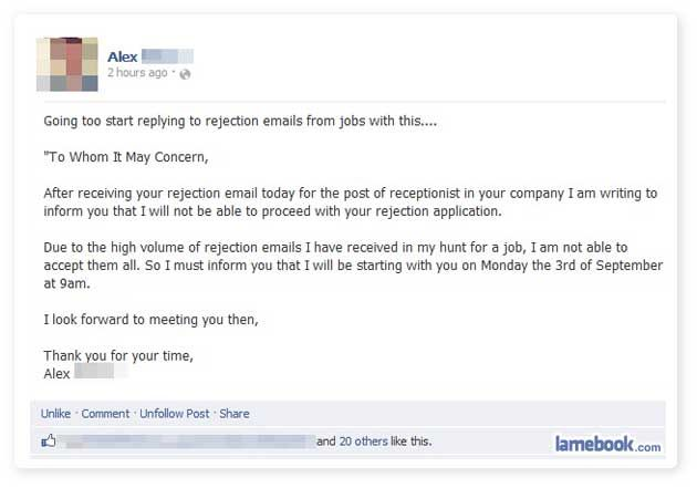 Thank You Email After Rejection Amazing Rejecting The Rejector.social Networking.pinterest  Funny .