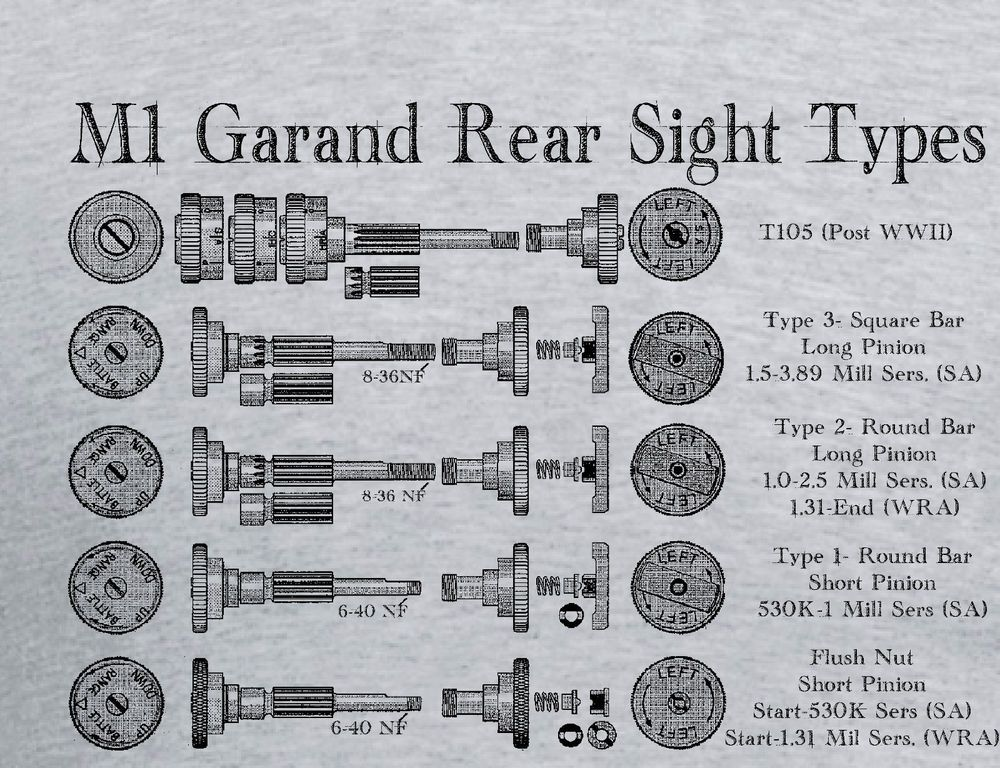 M1 Garand Rear Sight Types Wwii T Shirt Winchester Springfield