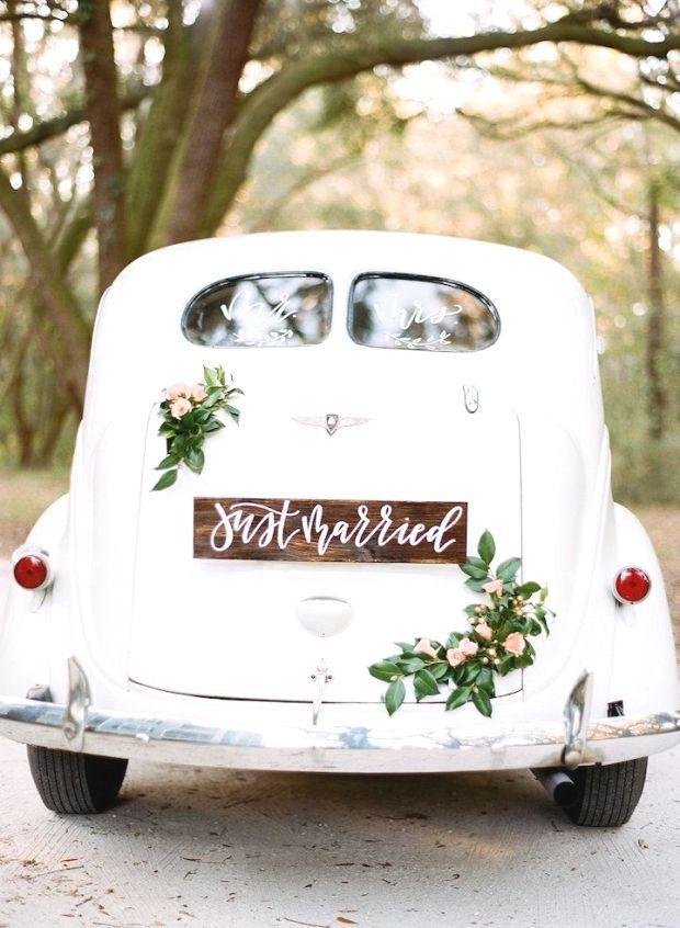 """kundenspezifische kalligraphie """"just married sign"""" und"""