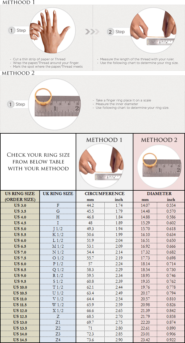 Ring Size Chart For Ring Orders Boutique Ottoman Online Jewelry