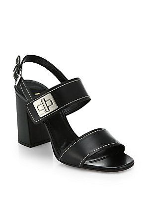 Prada Turn-Lock Block-Heeled Sandals