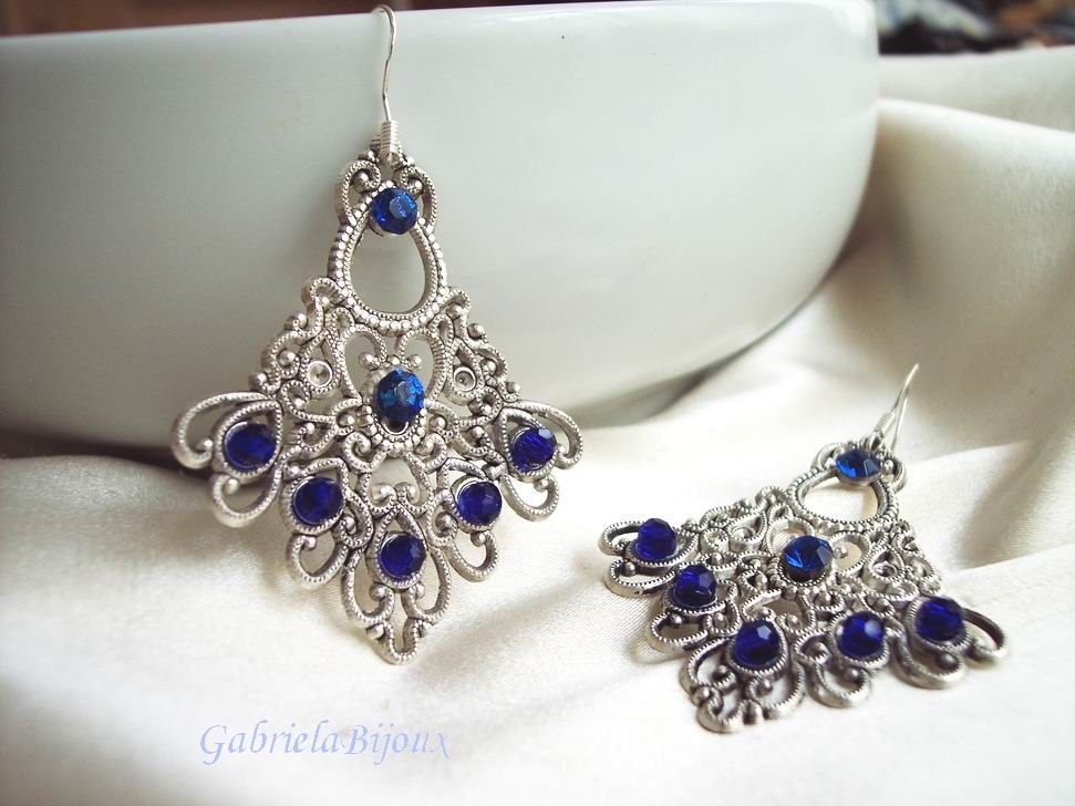 Romantic Wedding Story Statement Earrings Royale Blue, Silver And Clear Crystal Beads - pinned by pin4etsy.com