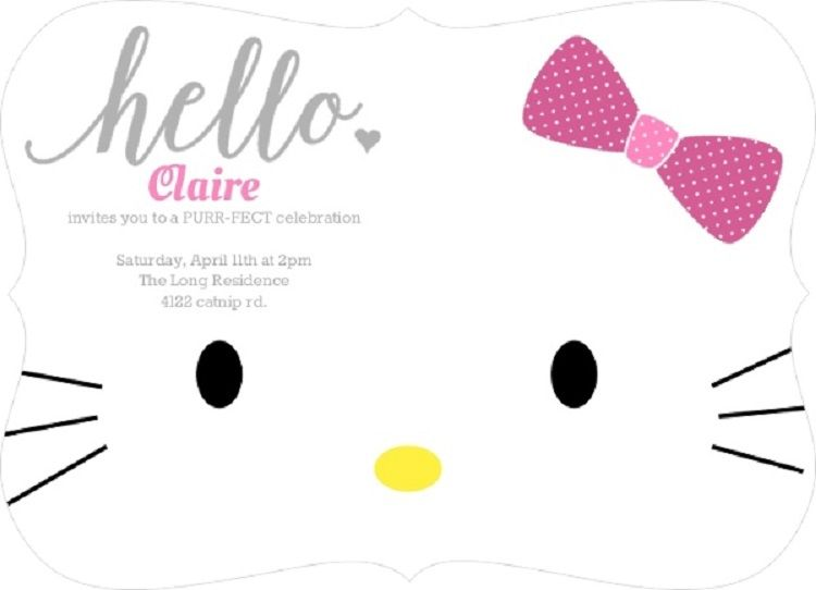 Creative Birthday Invitation Card Kitty Design Party Ideas Hello