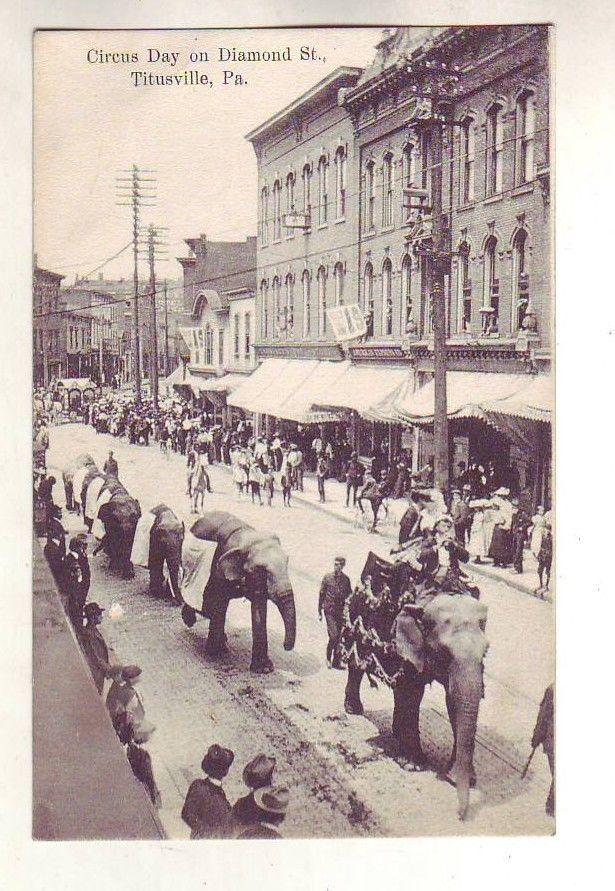 Awesome Old Postcard Circus Usville Pa Elephant Diamond Street Scene Rustic