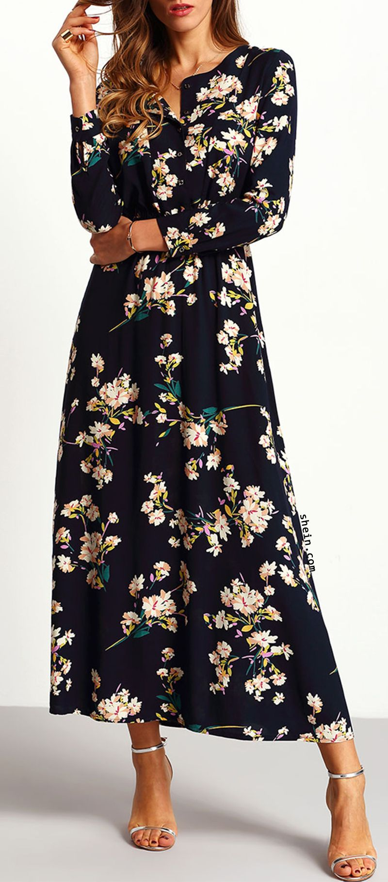 eefb008ae2 Navy Floral Maxi Dress. Elegant & comfortable! By shein ...