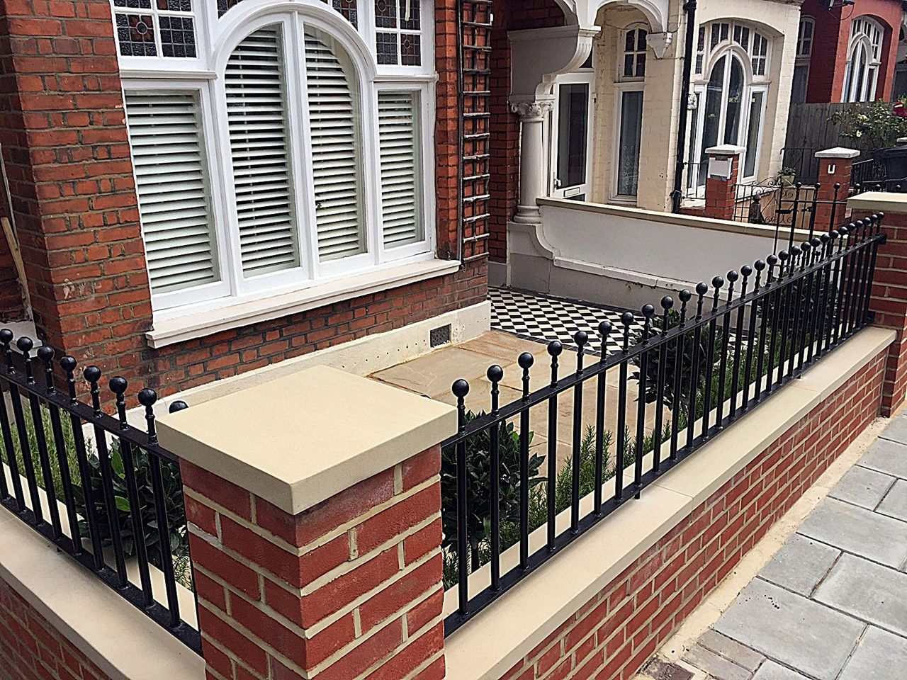 Fulham Brick Walls and Metal Rails Gates Landscape Garden