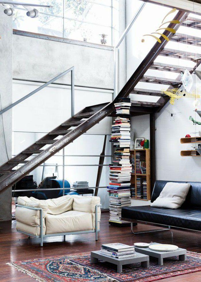 Industrie Teppich wohnzimmerideen industrieller stil teppich bücher innendesign