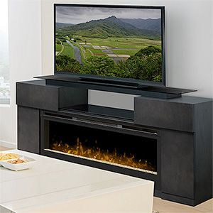 Concord Dark Grey Electric Fireplace Entertainment Center Gds50