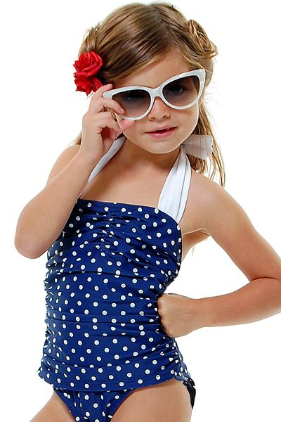 3086dea6d6680 Vintage Inspired 50 s Style Navy   White Polka Dot One-Piece Halter Children s  Swimsuit - Unique Vintage - Prom dresses