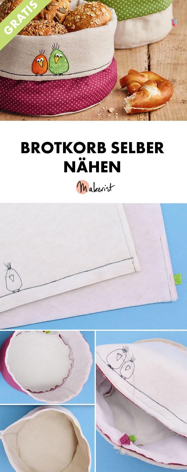 Brotkorb selber nähen - kostenlose Nähanleitung via Makerist.de #strickenundnähen